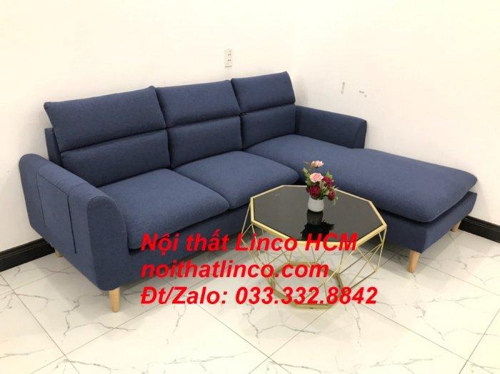 Bộ ghế sofa góc L phòng khách đẹp xanh dương đen bọc vải   Nội thất Linco Tphcm HCM Hồ Chí Minh Sài Gòn SG7