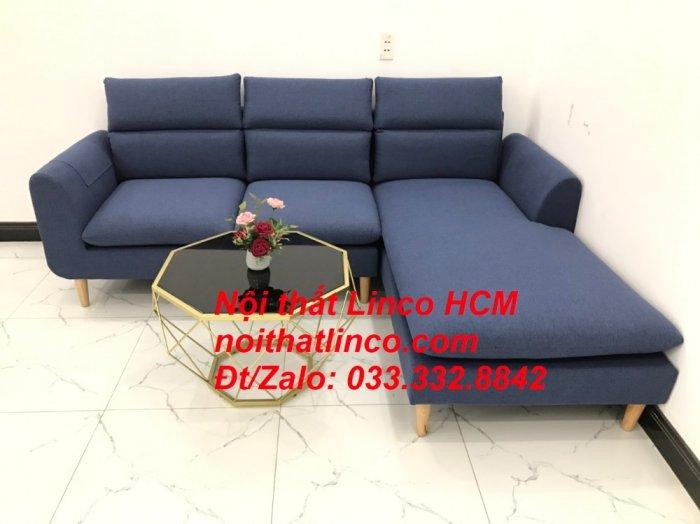 Bộ ghế sofa góc L phòng khách đẹp xanh dương đen bọc vải   Nội thất Linco Tphcm HCM Hồ Chí Minh Sài Gòn SG6