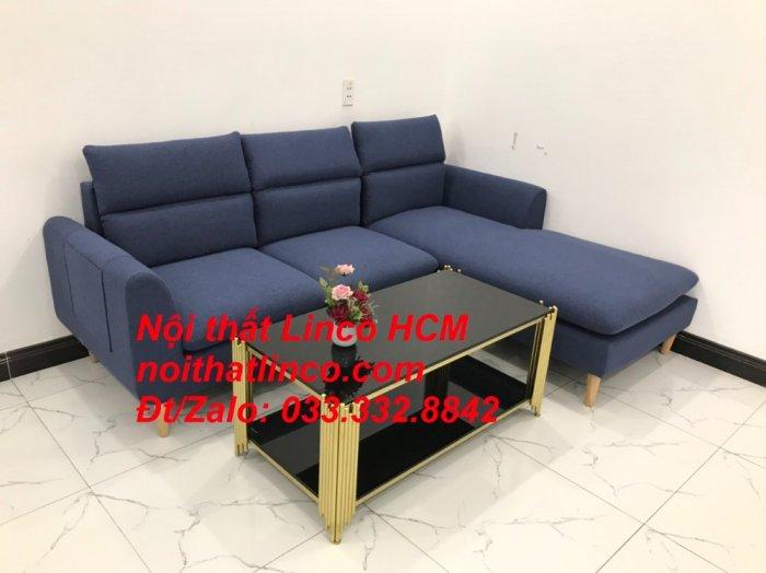 Bộ ghế sofa góc L phòng khách đẹp xanh dương đen bọc vải   Nội thất Linco Tphcm HCM Hồ Chí Minh Sài Gòn SG5
