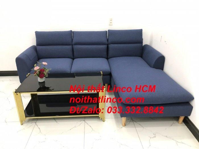 Bộ ghế sofa góc L phòng khách đẹp xanh dương đen bọc vải   Nội thất Linco Tphcm HCM Hồ Chí Minh Sài Gòn SG4