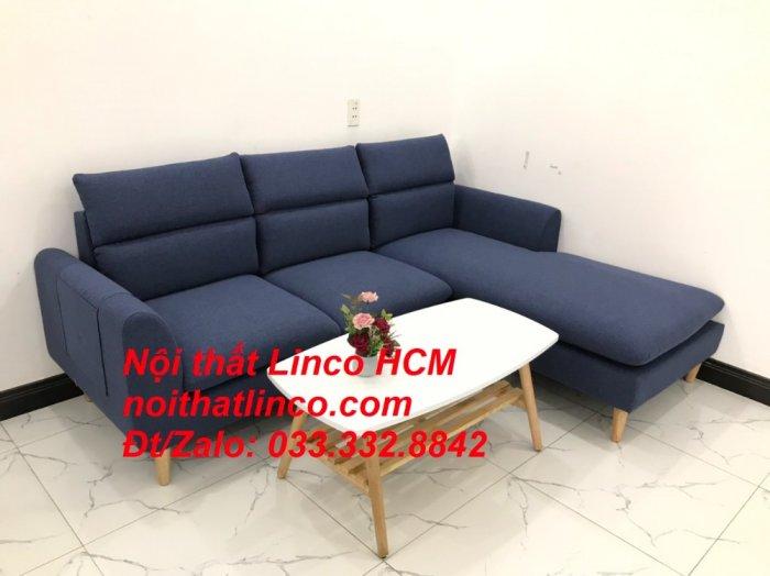 Bộ ghế sofa góc L phòng khách đẹp xanh dương đen bọc vải   Nội thất Linco Tphcm HCM Hồ Chí Minh Sài Gòn SG3
