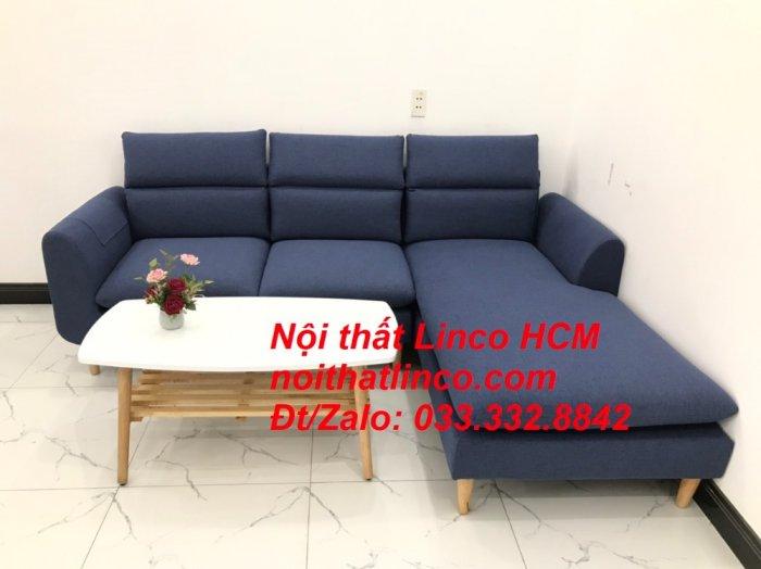 Bộ ghế sofa góc L phòng khách đẹp xanh dương đen bọc vải   Nội thất Linco Tphcm HCM Hồ Chí Minh Sài Gòn SG2
