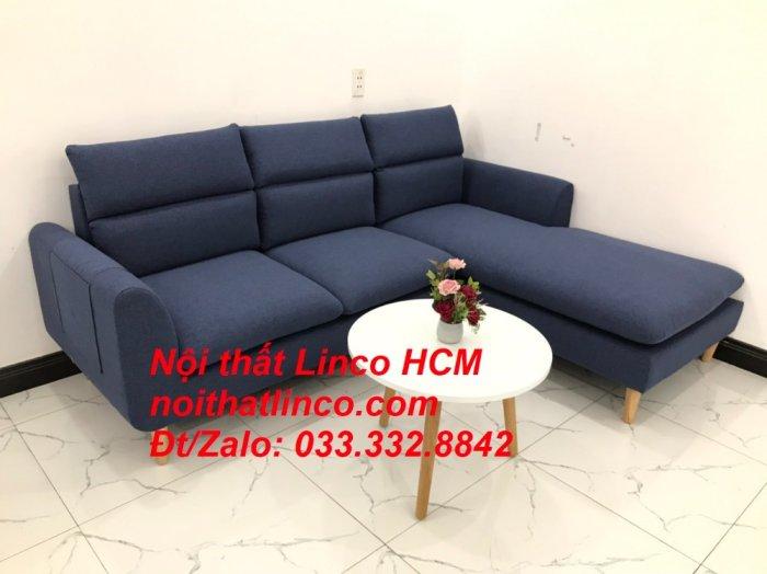 Bộ ghế sofa góc L phòng khách đẹp xanh dương đen bọc vải   Nội thất Linco Tphcm HCM Hồ Chí Minh Sài Gòn SG1