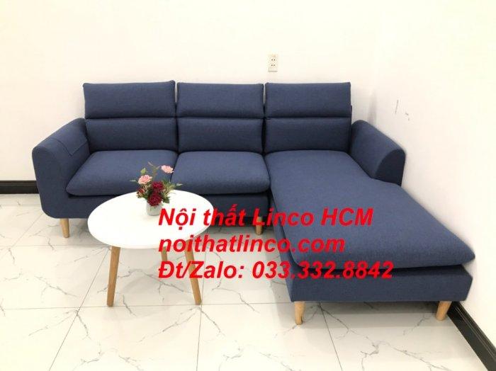 Bộ ghế sofa góc L phòng khách đẹp xanh dương đen bọc vải   Nội thất Linco Tphcm HCM Hồ Chí Minh Sài Gòn SG0
