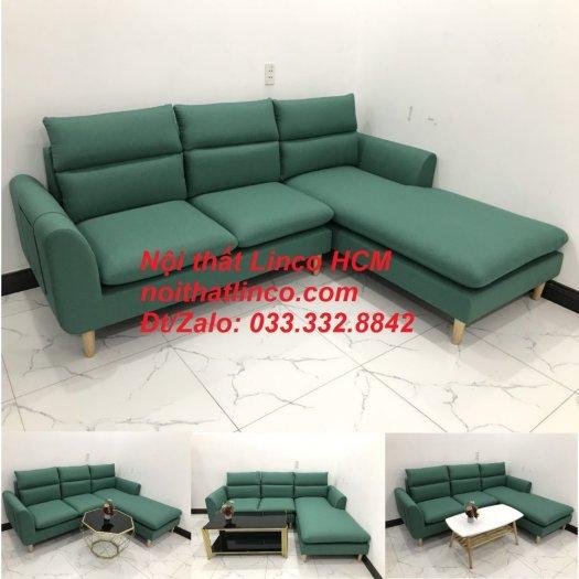 Bộ ghế sofa góc L phòng khách màu xanh ngọc lá cây đẹp   Nội thất Linco Tphcm HCM Hồ Chí Minh Sài Gòn SG10