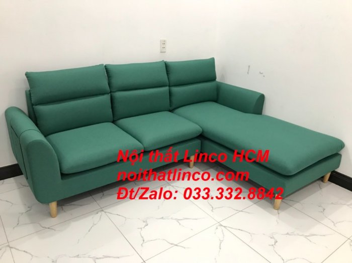 Bộ ghế sofa góc L phòng khách màu xanh ngọc lá cây đẹp   Nội thất Linco Tphcm HCM Hồ Chí Minh Sài Gòn SG9