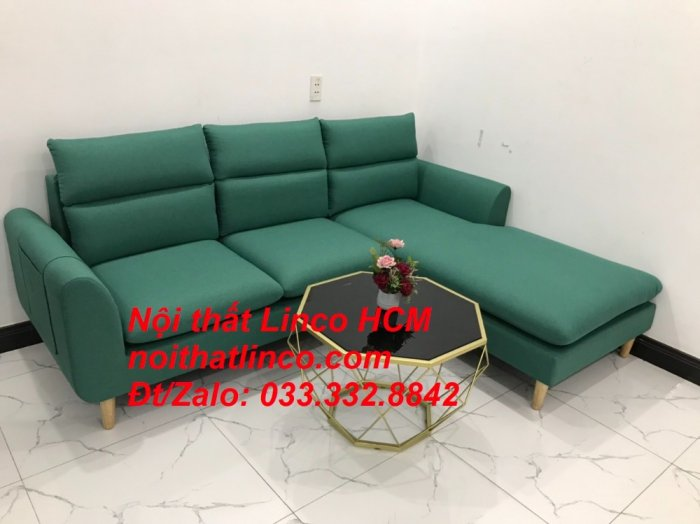 Bộ ghế sofa góc L phòng khách màu xanh ngọc lá cây đẹp   Nội thất Linco Tphcm HCM Hồ Chí Minh Sài Gòn SG7