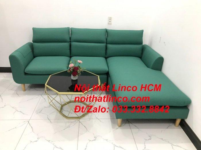 Bộ ghế sofa góc L phòng khách màu xanh ngọc lá cây đẹp   Nội thất Linco Tphcm HCM Hồ Chí Minh Sài Gòn SG6