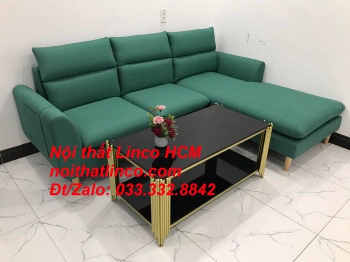 Bộ ghế sofa góc L phòng khách màu xanh ngọc lá cây đẹp   Nội thất Linco Tphcm HCM Hồ Chí Minh Sài Gòn SG5
