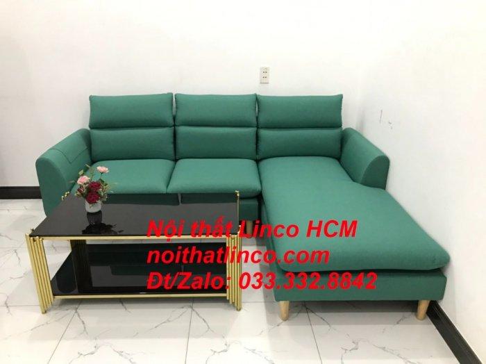 Bộ ghế sofa góc L phòng khách màu xanh ngọc lá cây đẹp   Nội thất Linco Tphcm HCM Hồ Chí Minh Sài Gòn SG4