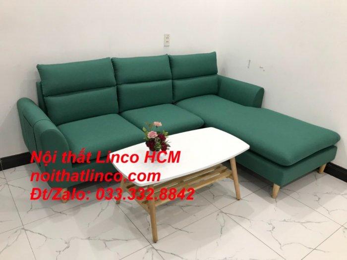 Bộ ghế sofa góc L phòng khách màu xanh ngọc lá cây đẹp   Nội thất Linco Tphcm HCM Hồ Chí Minh Sài Gòn SG3