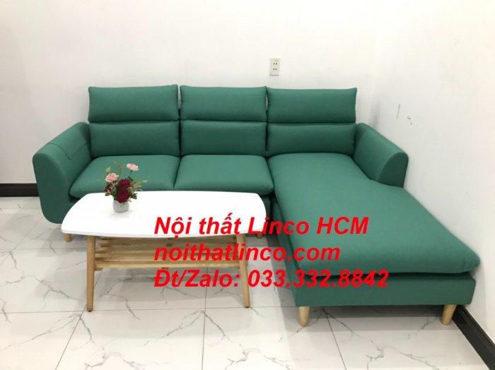 Bộ ghế sofa góc L phòng khách màu xanh ngọc lá cây đẹp   Nội thất Linco Tphcm HCM Hồ Chí Minh Sài Gòn SG2