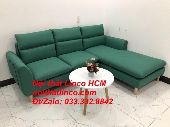Bộ ghế sofa góc L phòng khách màu xanh ngọc lá cây đẹp   Nội thất Linco Tphcm HCM Hồ Chí Minh Sài Gòn SG1