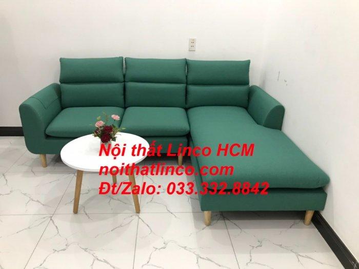 Bộ ghế sofa góc L phòng khách màu xanh ngọc lá cây đẹp   Nội thất Linco Tphcm HCM Hồ Chí Minh Sài Gòn SG0