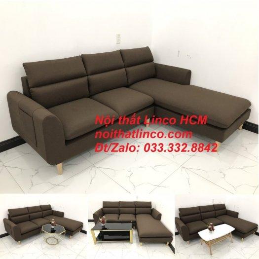 Bộ ghế sofa góc L màu nâu cafe đậm đen dài 2m2 giá rẻ   Nội thất Linco Tphcm HCM Hồ Chí Minh Sài Gòn SG10