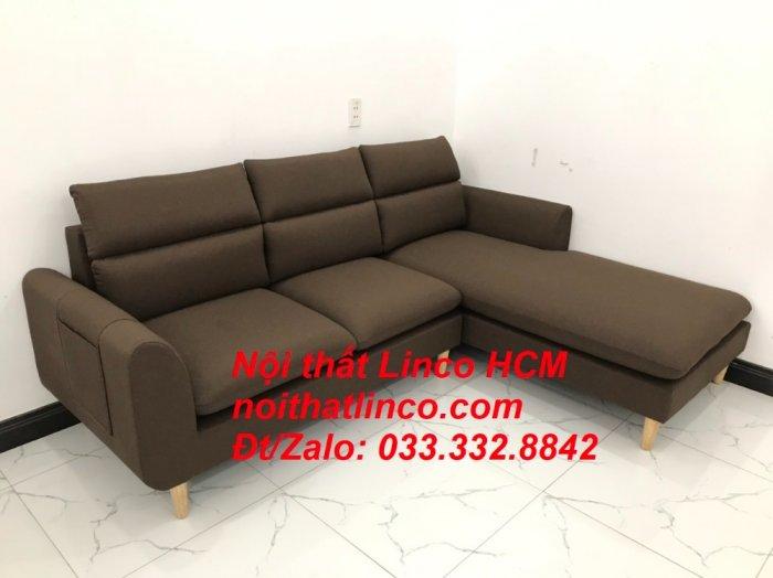 Bộ ghế sofa góc L màu nâu cafe đậm đen dài 2m2 giá rẻ   Nội thất Linco Tphcm HCM Hồ Chí Minh Sài Gòn SG9
