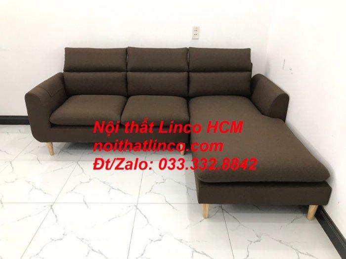 Bộ ghế sofa góc L màu nâu cafe đậm đen dài 2m2 giá rẻ   Nội thất Linco Tphcm HCM Hồ Chí Minh Sài Gòn SG8