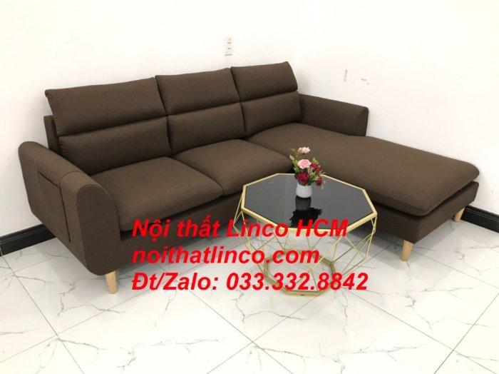 Bộ ghế sofa góc L màu nâu cafe đậm đen dài 2m2 giá rẻ   Nội thất Linco Tphcm HCM Hồ Chí Minh Sài Gòn SG7