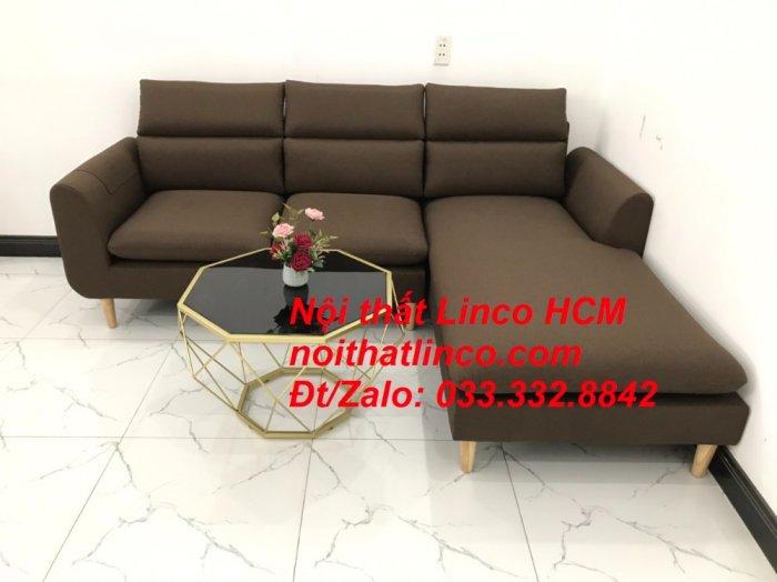 Bộ ghế sofa góc L màu nâu cafe đậm đen dài 2m2 giá rẻ   Nội thất Linco Tphcm HCM Hồ Chí Minh Sài Gòn SG6