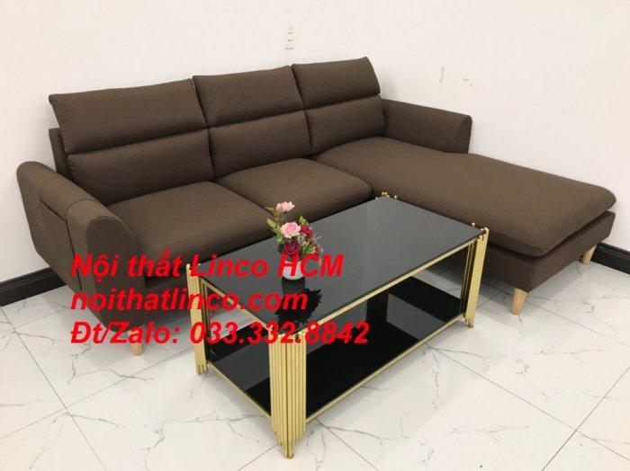 Bộ ghế sofa góc L màu nâu cafe đậm đen dài 2m2 giá rẻ   Nội thất Linco Tphcm HCM Hồ Chí Minh Sài Gòn SG5