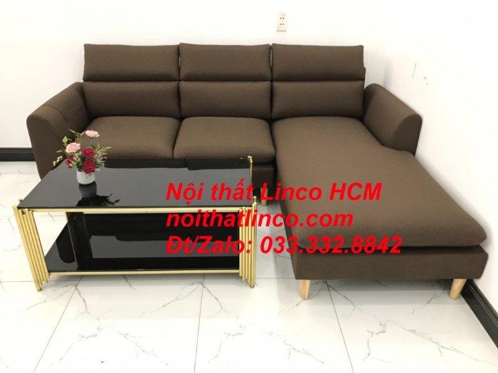 Bộ ghế sofa góc L màu nâu cafe đậm đen dài 2m2 giá rẻ   Nội thất Linco Tphcm HCM Hồ Chí Minh Sài Gòn SG4