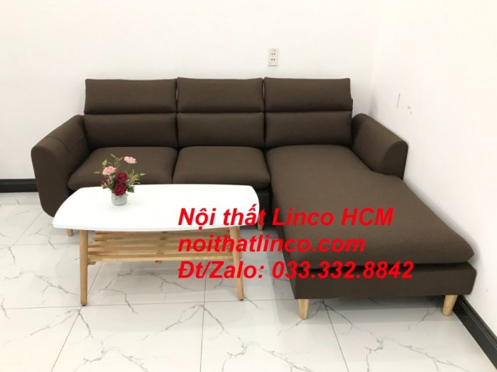 Bộ ghế sofa góc L màu nâu cafe đậm đen dài 2m2 giá rẻ   Nội thất Linco Tphcm HCM Hồ Chí Minh Sài Gòn SG2