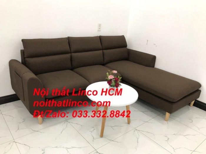 Bộ ghế sofa góc L màu nâu cafe đậm đen dài 2m2 giá rẻ   Nội thất Linco Tphcm HCM Hồ Chí Minh Sài Gòn SG1