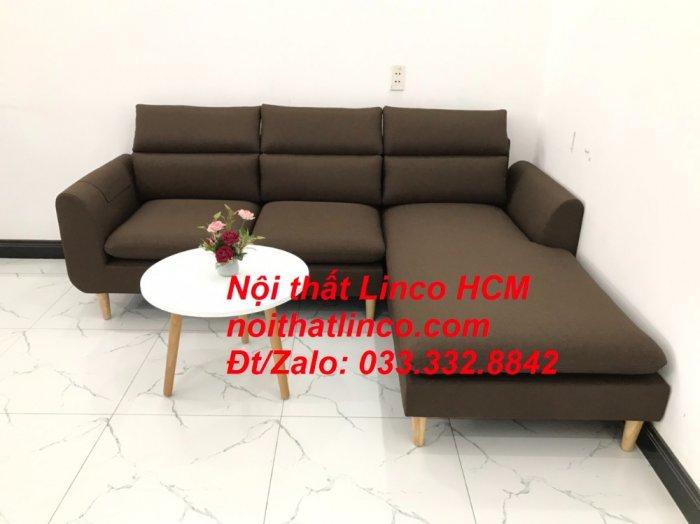 Bộ ghế sofa góc L màu nâu cafe đậm đen dài 2m2 giá rẻ   Nội thất Linco Tphcm HCM Hồ Chí Minh Sài Gòn SG0