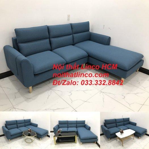 Bộ ghế sofa góc chữ L xanh dương nước biển đẹp hiện đại | Nội thất Linco Tphcm HCM Hồ Chí Minh Sài Gòn SG10