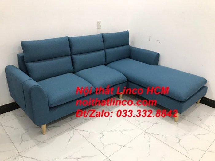 Bộ ghế sofa góc chữ L xanh dương nước biển đẹp hiện đại | Nội thất Linco Tphcm HCM Hồ Chí Minh Sài Gòn SG9