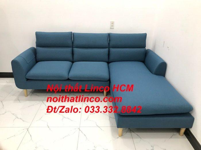 Bộ ghế sofa góc chữ L xanh dương nước biển đẹp hiện đại | Nội thất Linco Tphcm HCM Hồ Chí Minh Sài Gòn SG8