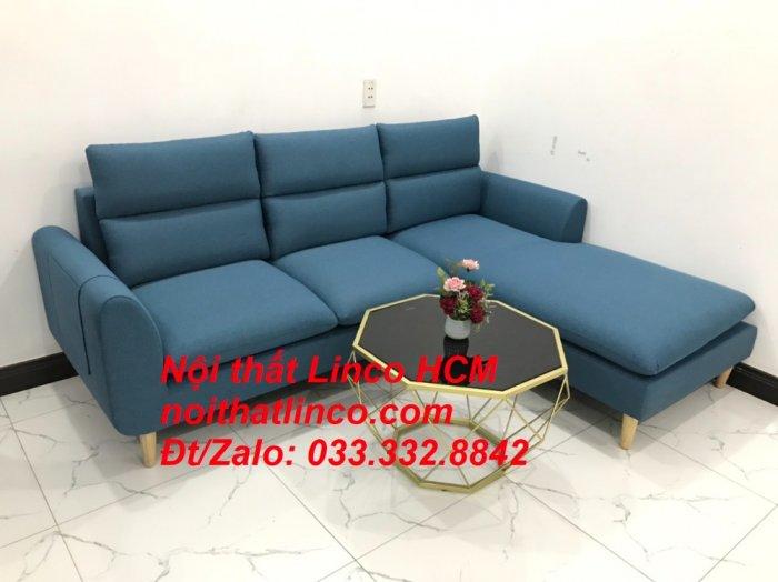 Bộ ghế sofa góc chữ L xanh dương nước biển đẹp hiện đại | Nội thất Linco Tphcm HCM Hồ Chí Minh Sài Gòn SG7
