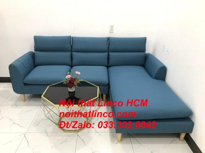 Bộ ghế sofa góc chữ L xanh dương nước biển đẹp hiện đại | Nội thất Linco Tphcm HCM Hồ Chí Minh Sài Gòn SG6