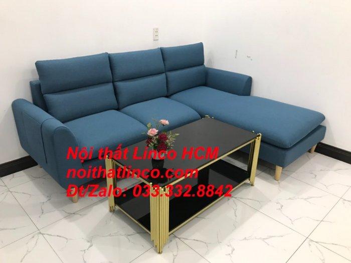 Bộ ghế sofa góc chữ L xanh dương nước biển đẹp hiện đại | Nội thất Linco Tphcm HCM Hồ Chí Minh Sài Gòn SG5