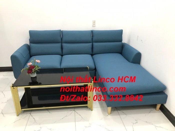 Bộ ghế sofa góc chữ L xanh dương nước biển đẹp hiện đại | Nội thất Linco Tphcm HCM Hồ Chí Minh Sài Gòn SG4