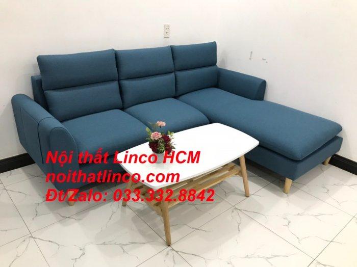 Bộ ghế sofa góc chữ L xanh dương nước biển đẹp hiện đại | Nội thất Linco Tphcm HCM Hồ Chí Minh Sài Gòn SG3