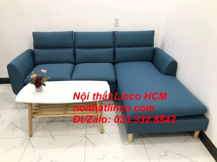 Bộ ghế sofa góc chữ L xanh dương nước biển đẹp hiện đại | Nội thất Linco Tphcm HCM Hồ Chí Minh Sài Gòn SG2