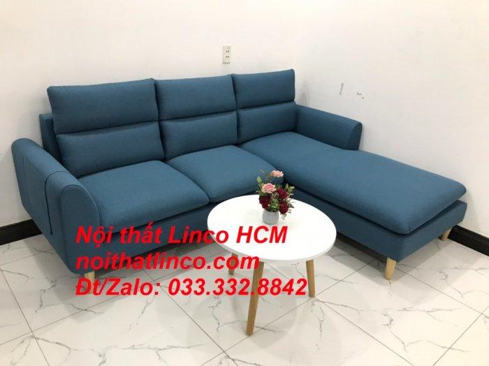 Bộ ghế sofa góc chữ L xanh dương nước biển đẹp hiện đại | Nội thất Linco Tphcm HCM Hồ Chí Minh Sài Gòn SG1