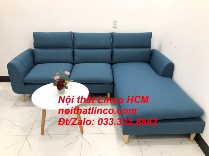 Bộ ghế sofa góc chữ L xanh dương nước biển đẹp hiện đại | Nội thất Linco Tphcm HCM Hồ Chí Minh Sài Gòn SG0