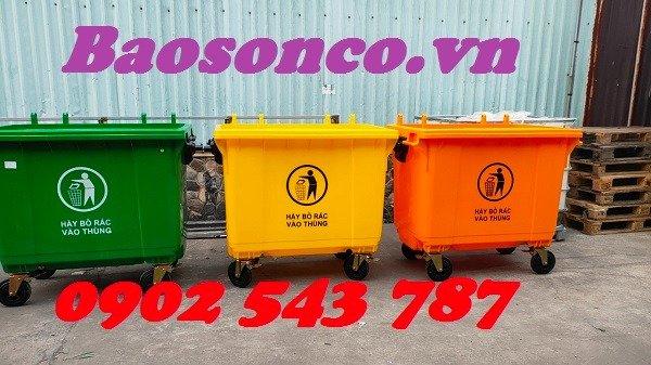 Xe đẩy rác  660 lít nhựa HĐPE ngoài trời3