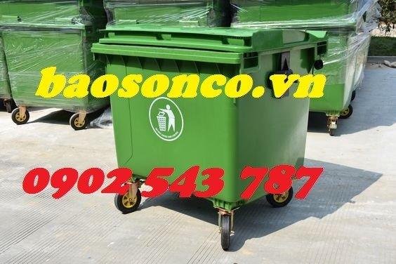 Xe đẩy rác  660 lít nhựa HĐPE ngoài trời2