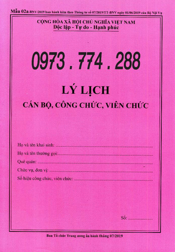 Bán sơ yếu lý lịch cán bộ công chức viên chức mẫu 2a-BNV/ TT070