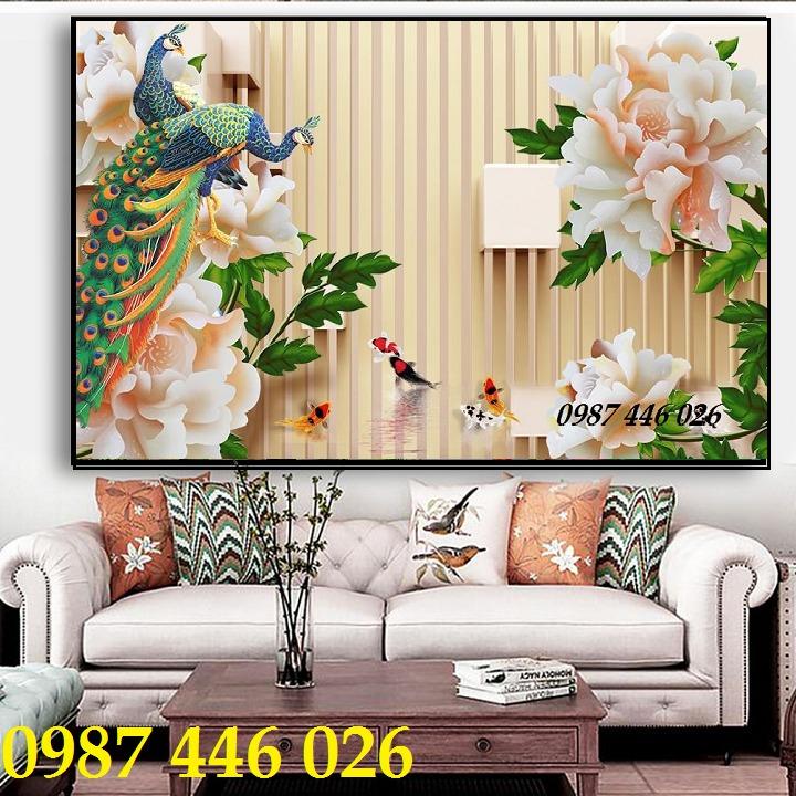 Gạch 3d tranh chim công đẹp HP42192`4