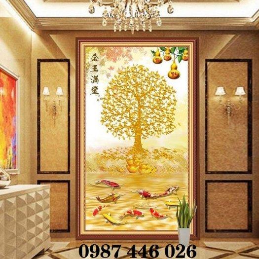 Gạch tranh cây tiền lộc vàng HP60216