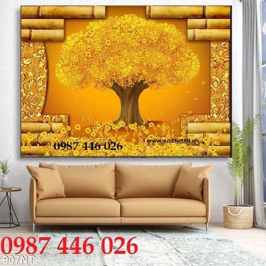 Gạch tranh cây tiền lộc vàng HP60215