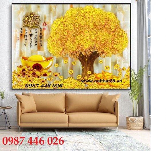Gạch tranh cây tiền lộc vàng HP60214