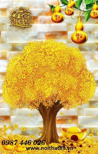Gạch tranh cây tiền lộc vàng HP60212