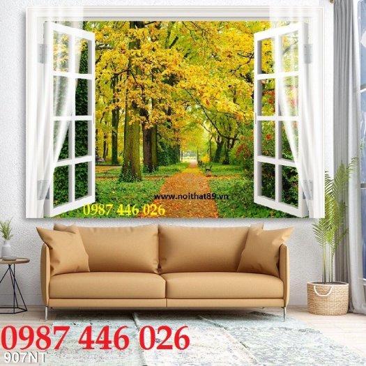 Tranh gạch cửa sổ tạo chiều sâu không gian HP61028