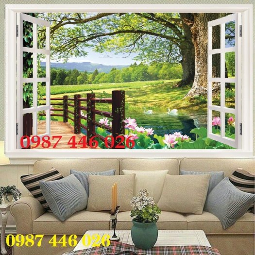 Tranh gạch cửa sổ tạo chiều sâu không gian HP61027