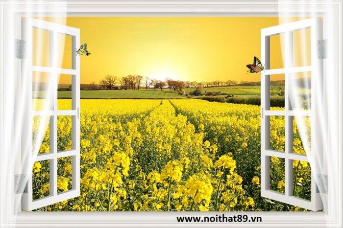 Tranh gạch cửa sổ tạo chiều sâu không gian HP61021